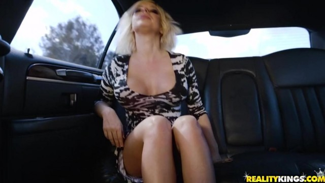 Busty Blonde MILF Sucks Her Driver Video thumb #0