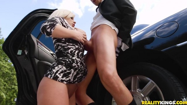 Busty Blonde MILF Sucks Her Driver Video thumb #15
