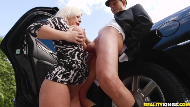 Busty Blonde MILF Sucks Her Driver Video thumb #16