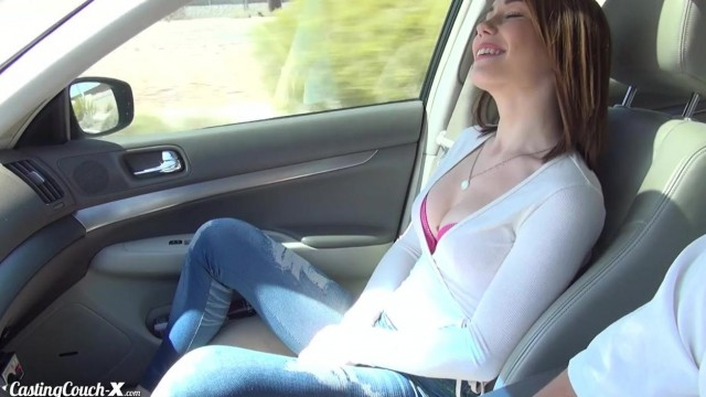 Raylin fingered in car as she goes to porn casting Video thumb #1