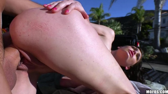 Brunette giving head before getting nailed outdoor Video thumb #12