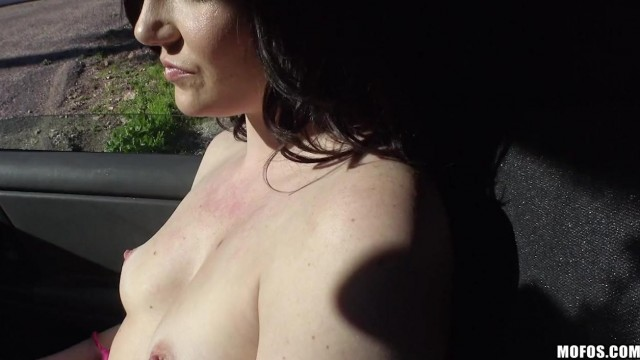 MOFOS - Brunette gives blowjob in car Video thumb #3