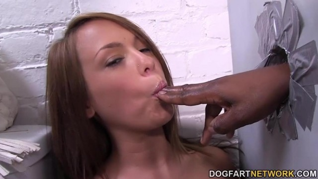 Haley Sweet - Sucking and fucking black cock in glory hole Video thumb #3
