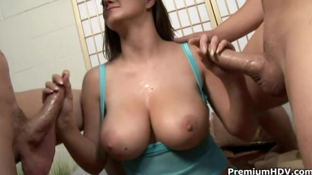 Double handjob cumshots by busty slut Video thumb #3