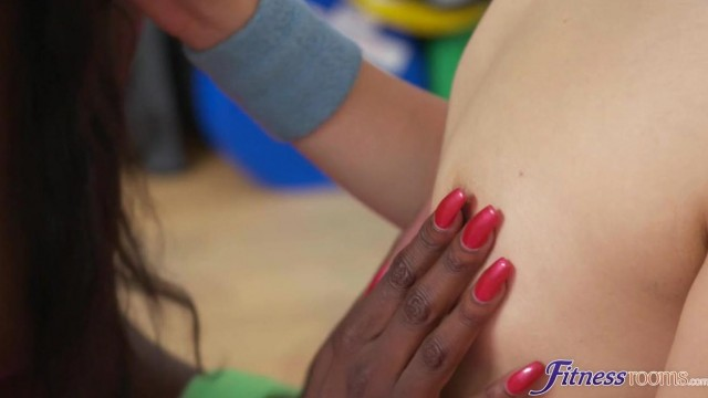 Interracial lesbians- Ebony and Asian in the gym Video thumb #15