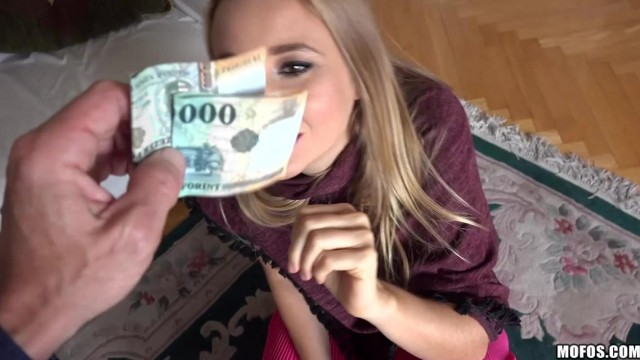 Porn Title: Blonde young wife agrees to suck and ride his cock for money