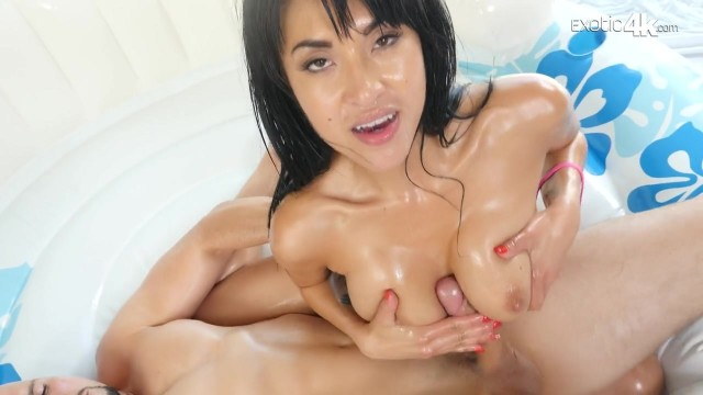 Exotic4K - Oiled Brunette anal sex Video thumb #0