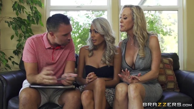 Brazzers threesome experience with two hot bitches Video thumb #1