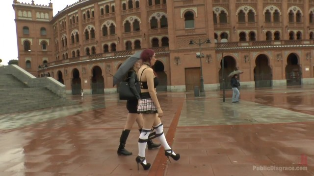 Public humiliation for slave walking topless in the street Video thumb #0