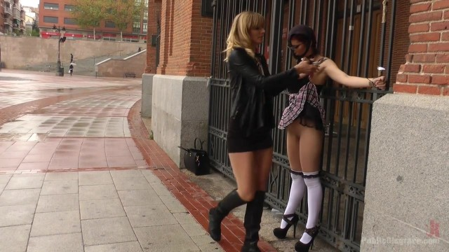 Public humiliation for slave walking topless in the street Video thumb #11