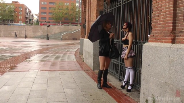 Public humiliation for slave walking topless in the street Video thumb #12