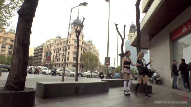 Public humiliation for slave walking topless in the street Video thumb #14