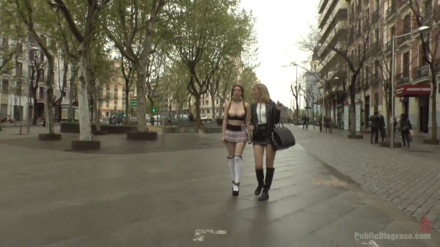 Public humiliation for slave walking topless in the street Video thumb #17