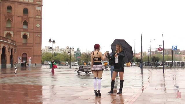 Public humiliation for slave walking topless in the street Video thumb #1