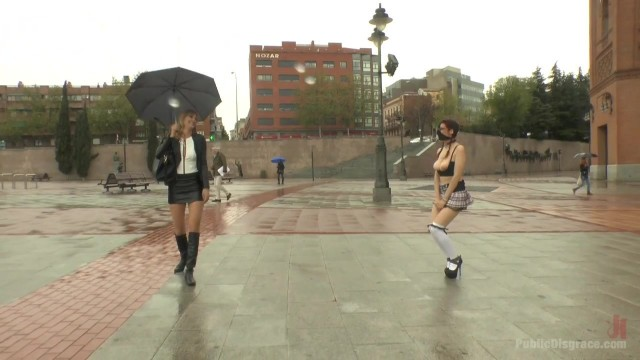 Public humiliation for slave walking topless in the street Video thumb #4