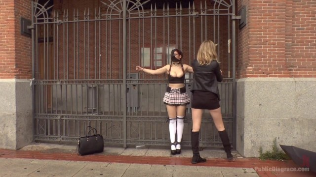 Public humiliation for slave walking topless in the street Video thumb #6