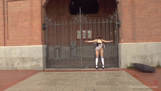 Public humiliation for slave walking topless in the street Video thumb #7
