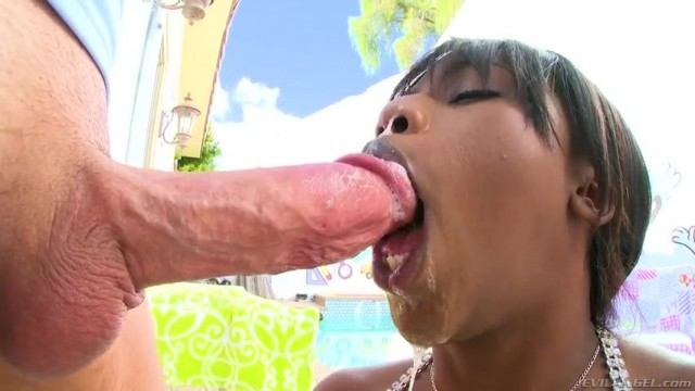 Ebony Sarah Banks deepthroats big white cock Video thumb #14