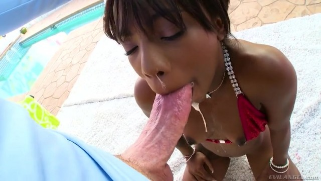 Ebony Sarah Banks deepthroats big white cock Video thumb #17