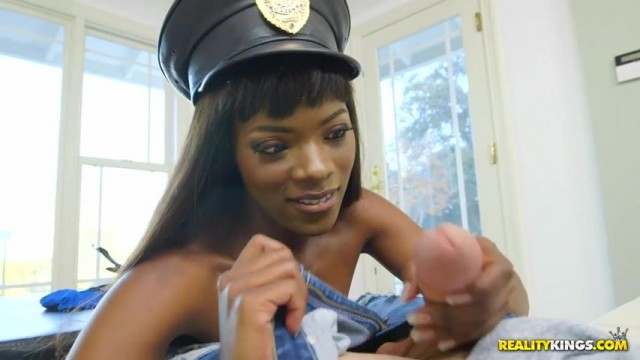 Ebony police officer twerk and give head Video thumb #11