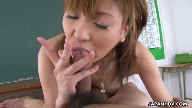 Japanese MILF Jun Kusanagi is a cock sucking teacher