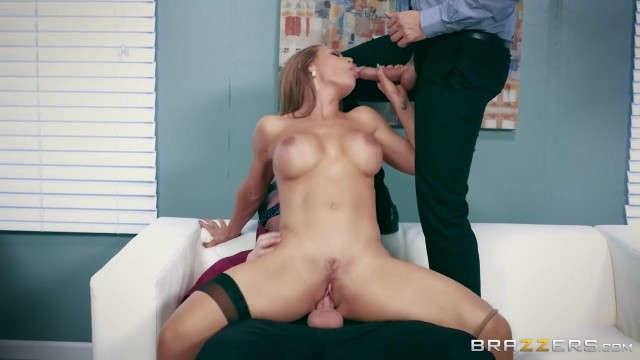 Busty Nicole Aniston MILF handles two big cocks in threesome porn video Video thumb #0