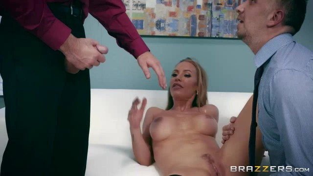 Busty Nicole Aniston MILF handles two big cocks in threesome porn video Video thumb #11