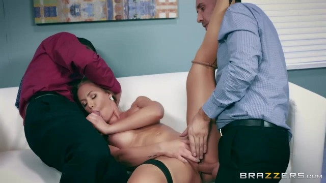 Busty Nicole Aniston MILF handles two big cocks in threesome porn video Video thumb #14
