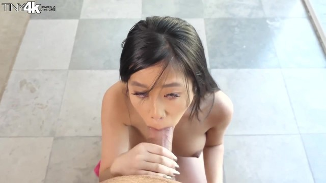 Petite Asian Jade Kush wraps my huge dick and takes it in mouth Video thumb #15