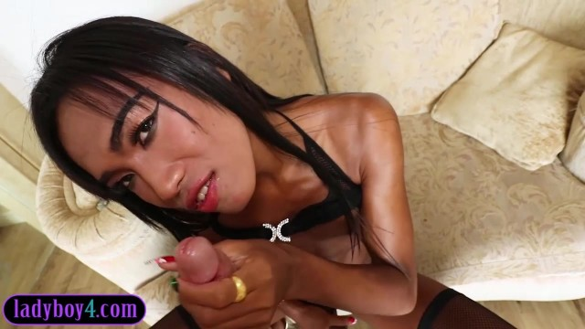 Well hung ladyboy blowjob and barebacked Video thumb #5