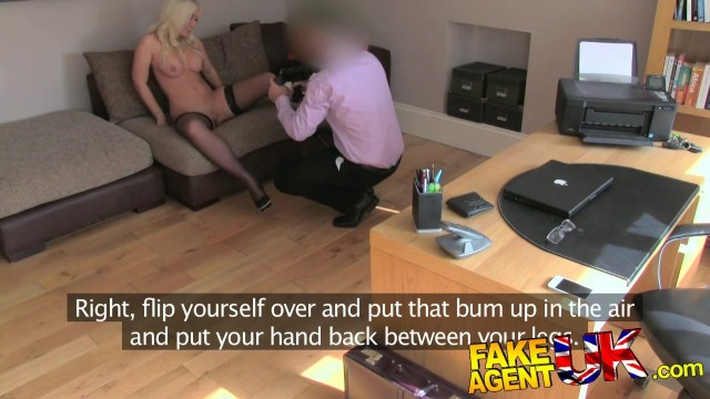 Busty blonde in stockings rims ass and gives head in fake casting interview Video thumb #3