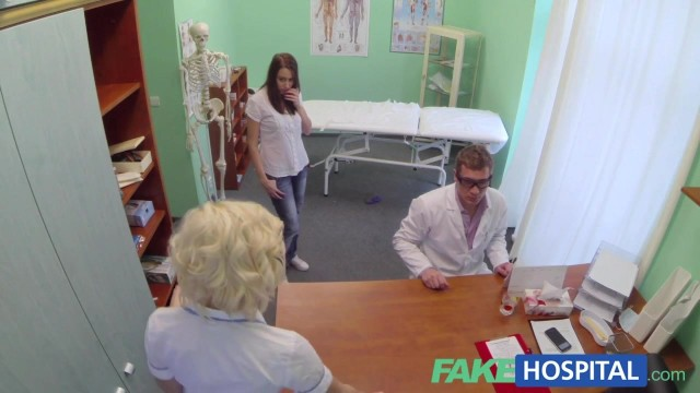 The porn doctor has sex with her patient in the fake hospital Video thumb #1