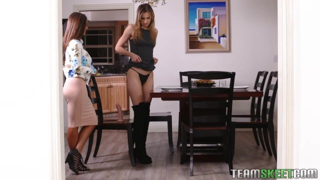 Young Jillian Janson fucked with a strapon by lesbian MILF Video thumb #0