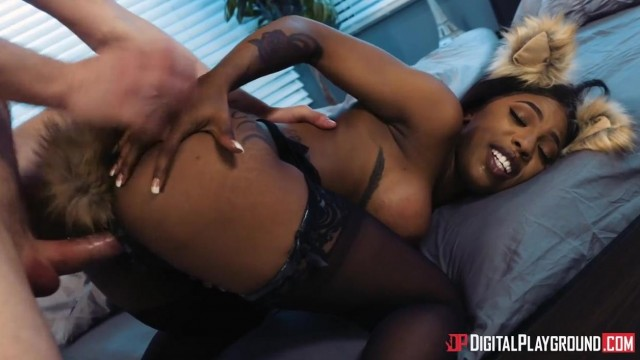 Ebony pornstar Sarah Banks with a tail plug fucked by Markus Dupree Video thumb #5