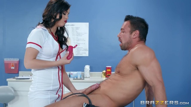 Busty nurse Alina Lopez fucks Johnny Castle in cowgirl position at hospital
