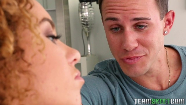 Curly haired teen Eli Luxx banged on the couch Video thumb #1
